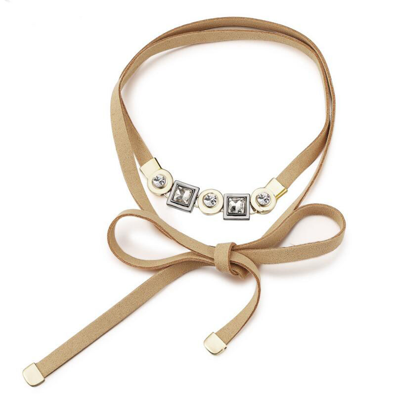 WENZHE Long Leather Double Wrap Choker Boho Necklace Women Party Accessory Featured Image