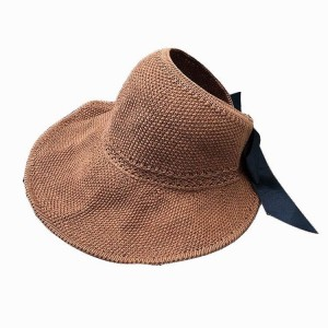 WENZHE New Women Beach Hat Lady Cap Wide Brim Grass Yarn Fold Summer Sun Straw Hat