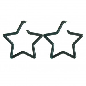 WENZHE New Arrival Wholesale Green Acrylic Hollow Star Earrings For Women