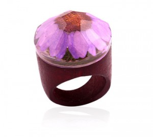 Fashion Wooden Ring Foreign Trade resin flower ring ethnic style wedding ring