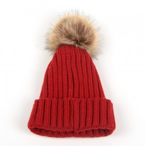 WENZHE Women Girls Leisure Solid Color Knitted Hat Fur Warm Knit Pom Pom Winter Beanies