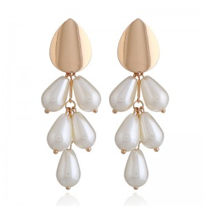 New women fashion earrings long water drop shaped pearl drop earrings