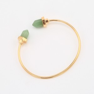 Newest Gold Plated Bullet Shape Natural Stone Cuff Bangles Trendy Bracelet For Women