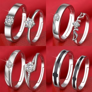 European and American fashion open couple ring female Korean version of zircon six-claw crown wedding ring