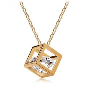 Gold&Silver Necklace Plated Long Chain Magic Cube Crystal Rhinestone Pendant women