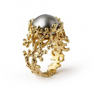 Gold Pearl Engagement Ring