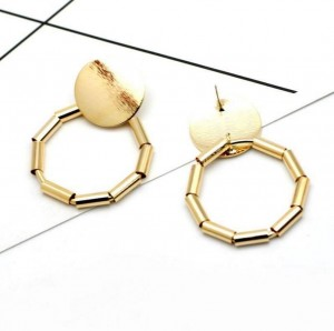 Wholesale trending products gold metal tube circle earring stud