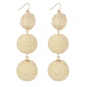 WENZHE New Style Handmade Straw Weave Rattan Ball Drop Earring For Women Jewelry