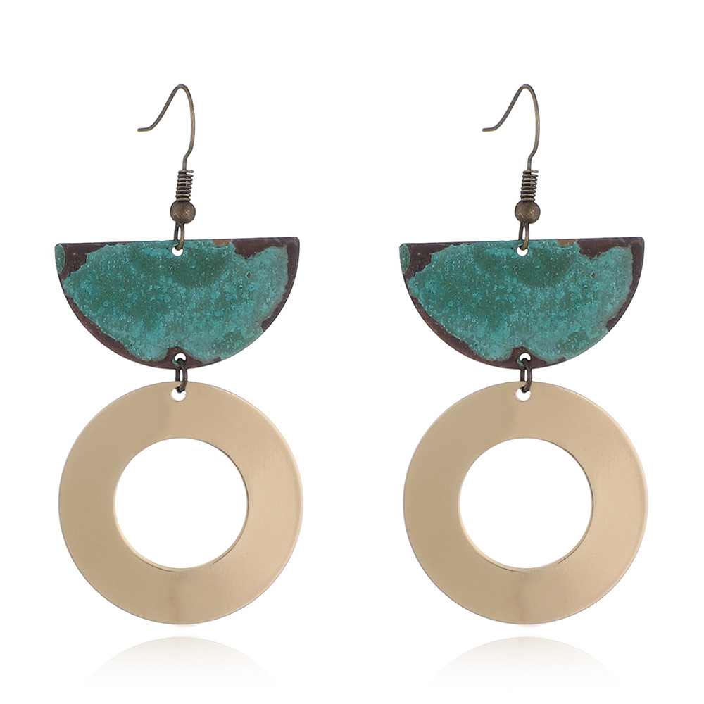 2019 New Trend Jewelry Earring Worn Gold Silver Patina Plated Metal Copper Statement Earrings for Women Featured Image