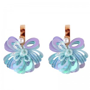 New Fashion Handmade Sequins Flower Earrings For Womens Gift Wholesale