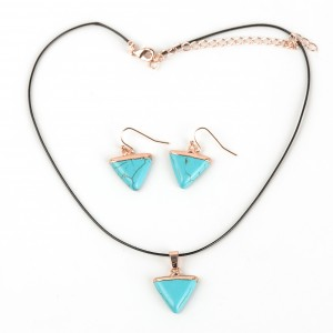 WENZHE New Style Women Black Cord Triangular Turquoise Pendant Necklace Earring Jewelry Set