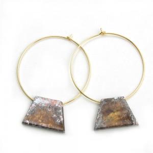 WENZHE European and American Fashion Women Retro Circle Geometric Old Metal Hoop Earrings
