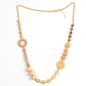 WENZHE Gold Plated Chain Handmade Rattan Weave Necklace