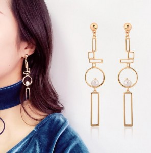 Gold 24k jewelry design hollow geometry pearl long earrings for women