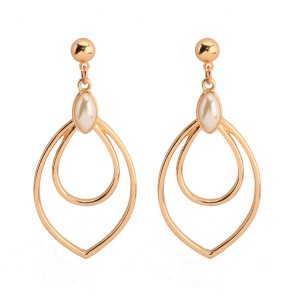 New Spring Fashion Simple Water Drop Shape Earrings Hollow Double Leaf Pearl Drop Earrings Jewelry For Women