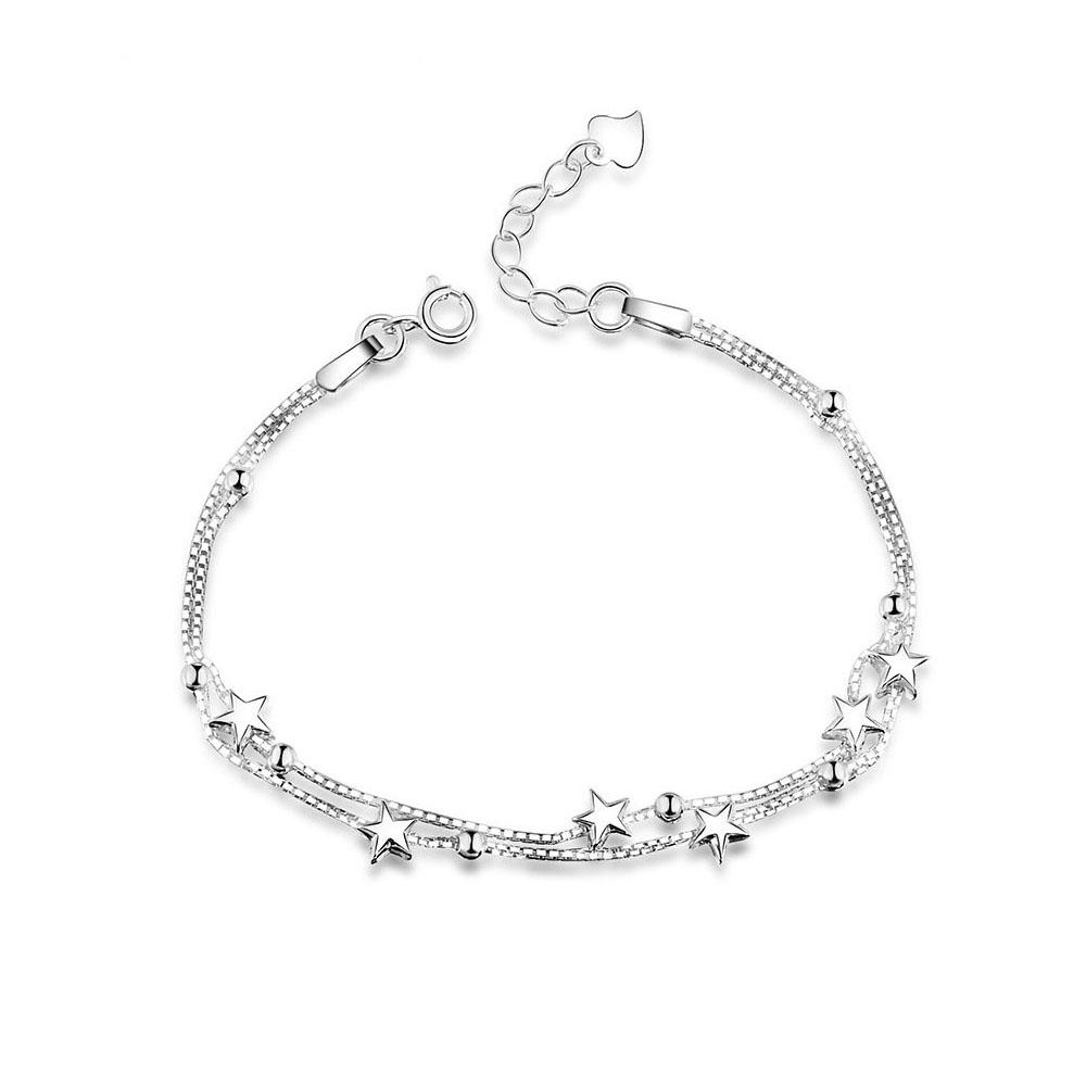 925 Sterling Silver Star Chain Female Bracelet Beads Charm Jewelry Women Bangle Bracelets Featured Image