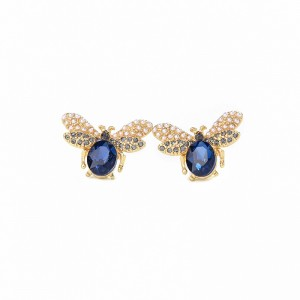 Korea animal sex with ladies cute earring delicate cute pearl bee insect earrings sapphire stud earring