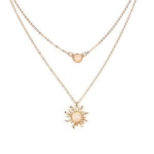 Latest Design Multilayer Sun Flower Pendant Necklace Women Fashion Opal Clavicle Necklace