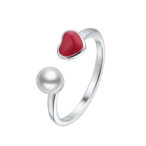 WENZHE Wholesale Jewelry Red Heart S925 Sterling Silver Pearl Open Ring