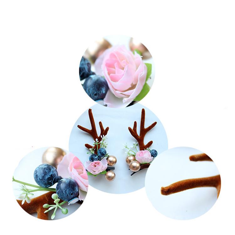 Fashion-Design-Handmade-Antler-Hairclips-Christmas-Flower (4)