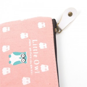 WENZHE Owl Wallet Canvas Key Bag Square Coin Purse