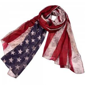 WENZHE Retro Star Striped Scarf USA American Flag Printed Scarf
