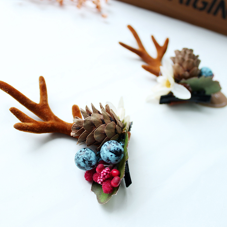 Fashion-Design-Handmade-Antler-Hairclips-Christmas-Pine (2)