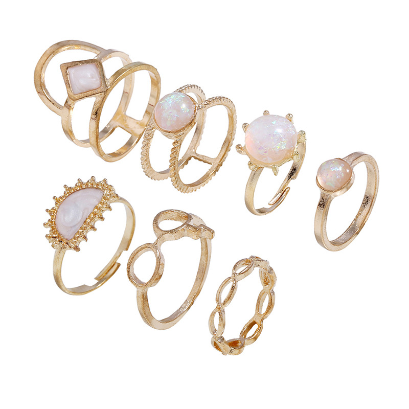 WENZHE European and American retro simple opal gold ring set Featured Image