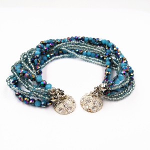 Fashion Jewelry Handmade Multi-layer Glass Beads Crystal Ball Magnetic Clasp Bracelet