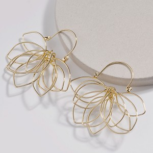 WENZHE New gold floral alloy wire winding weaving multi-layer flower earring