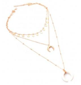 Women Fashion Multilayer Gold Chian Horn Pendant Choker Boho Necklace