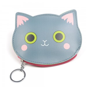 WENZHE Lovely Cartoon Cat Head PU Leather Zipper Coin Purse