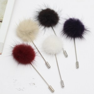 Autumn and winter high-grade mink fur ball brooch pearl female brooch a word pin cardigan scarf buckle