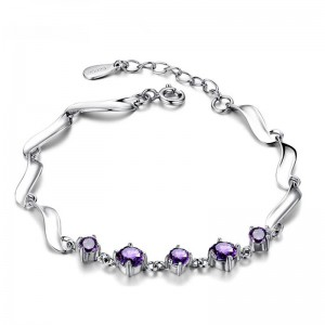 WENZHE Wholesale 925 Sterling Silver Fashion Jewelry Bracelet With Purple Stone