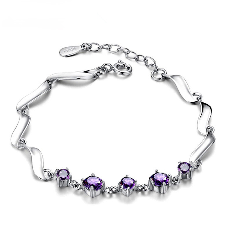 WENZHE Wholesale 925 Sterling Silver Fashion Jewelry Bracelet With Purple Stone Featured Image