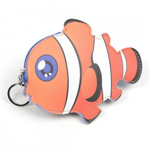 WENZHE Animal leather Clownfish Shaped Coin Purse With Keyring
