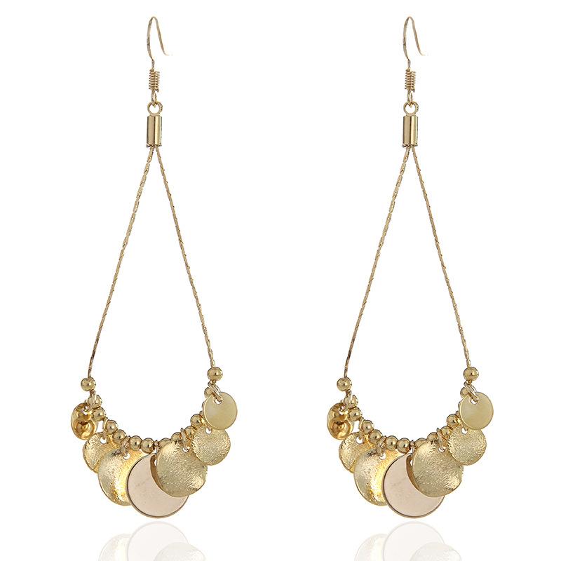 WENZHE Vintage long metal tassel earrings personalized long tassel geometric round earrings Featured Image