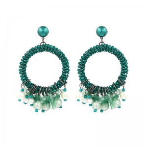 New Style Circle Seed Beads Pearl Tassel Drop Earrings Jewelry Wholesale