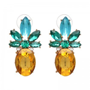 Fashion Gold Plated Yellow Big Gems Crystal Pineapple Stud Earrings For Women's Ladies