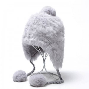WENZHE Ladies Winter Rabit Fur Earflap Hats With Fur Pompom Balls For Women