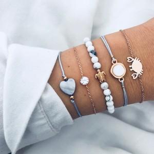 Newest Design Sea Jewelry Lovely Crab Turtle Geometric Beaded Beach Bracelet Set