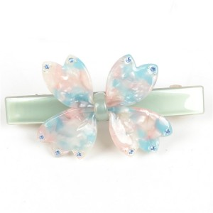 WENZHE Korea Style Cellulose Acetate Acrylic Flower Crystal Hair Barrette Clip For Girls