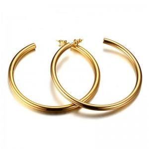 Gold hoop earrings big circle titanium steel earrings