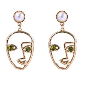 Personalized punk creative women gold metal hollow human face dangle earrings
