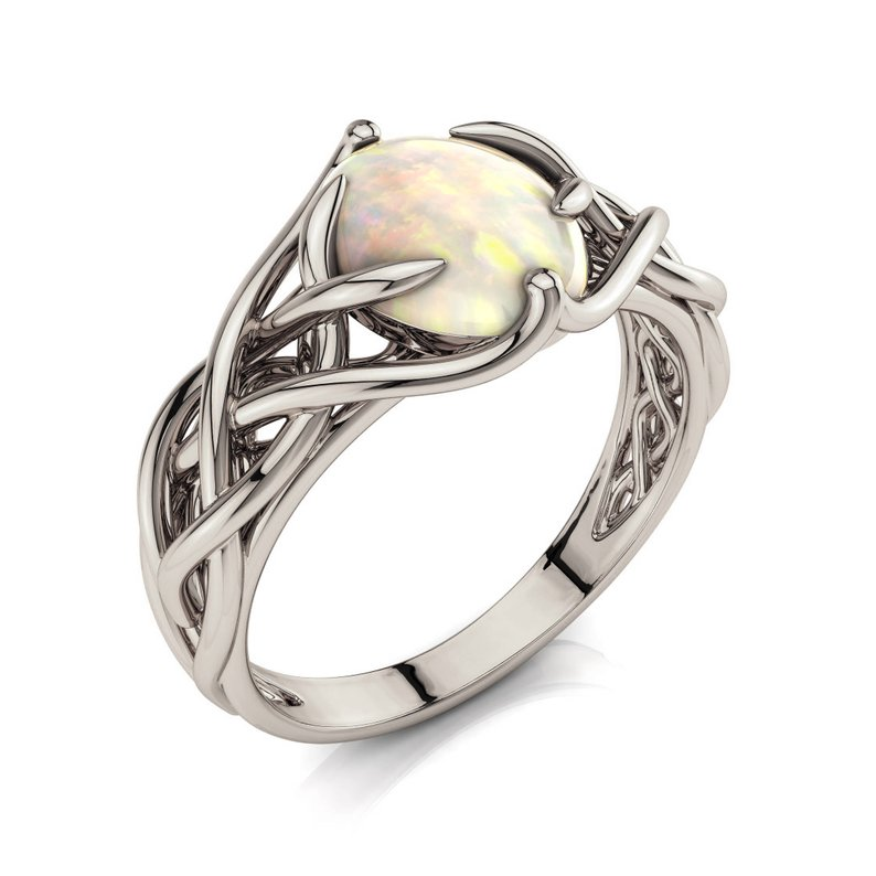 Opal Engagement Ring Celtic Engagement Ring Braided Opal Ring Featured Image