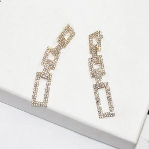 Fashion dangle crystal rectangle earring geometric silver jewelry