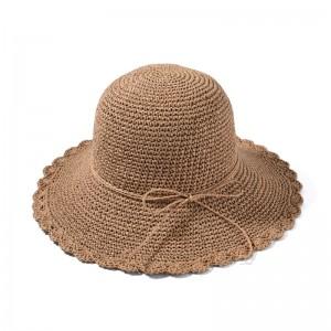 WENZHE Custom Women's Wide Brim Caps Foldable Summer Beach Sun Straw Hats