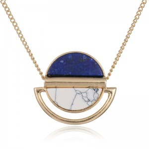 New Arrival European and American Style White Turquoise Gold Lapis Lazuli Necklace