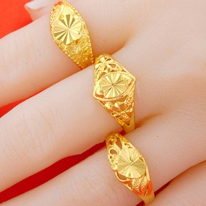 Open brass gold plated female ring 24K gold plated ring