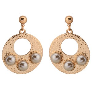 Fashion new design best gift for Valentine's Day ladies earrings round hollow pearl earrings